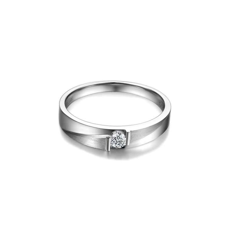 Alliance diamant sertissage demi clos - Métal or blanc 18cts - Homme