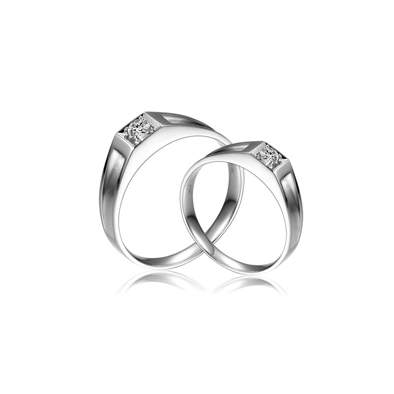 Alliances de type solitaire - Alliances Duo en or blanc et diamants