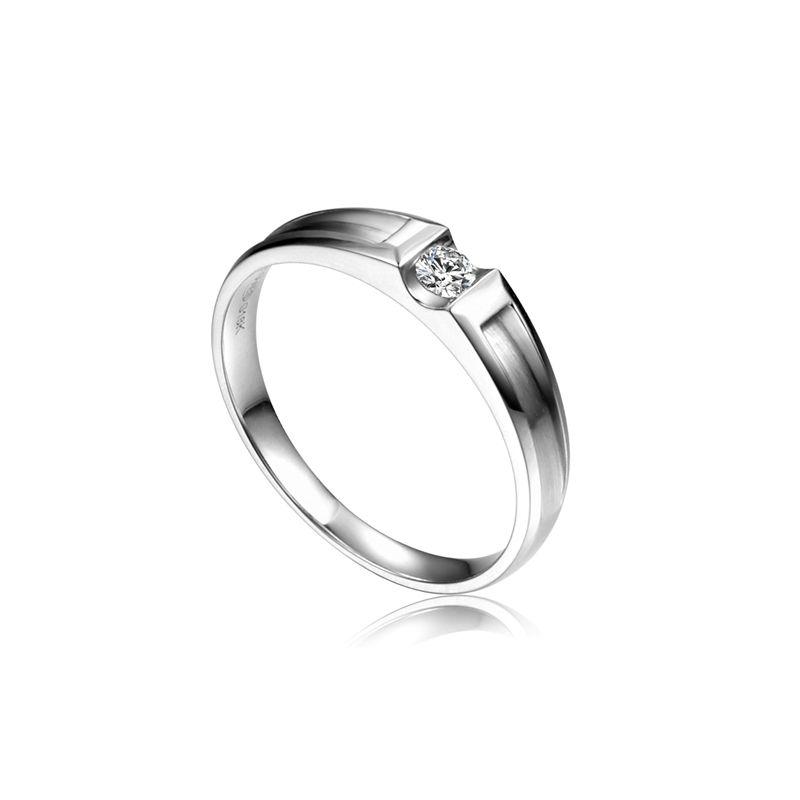 Alliance solitaire diamant -  Alliance Homme platine | Scott