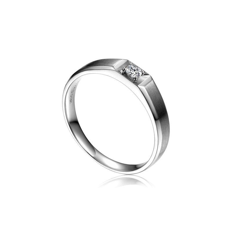 Anneau solitaire Femme - Alliance or blanc diamant serti grain