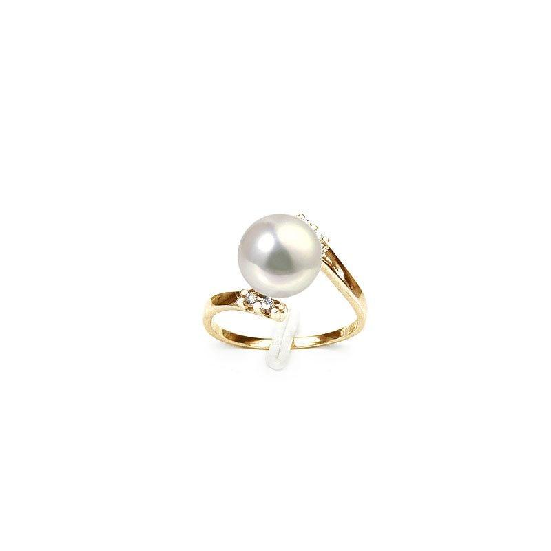 Bague ondulée solitaire - Or jaune, diamants - Perle blanche culture