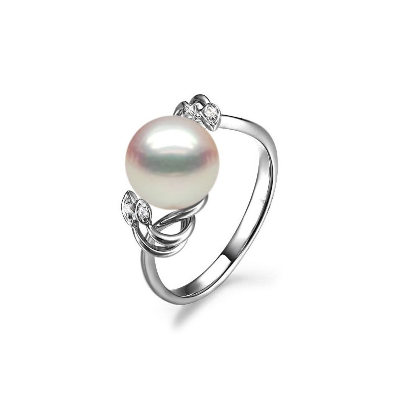 Bague fleur - Or blanc, Diamants - Perle de culture, Eau douce