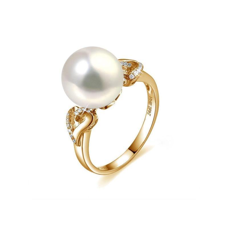 Bague coeur de perle diamanté - Or jaune et Perle d'eau douce blanche