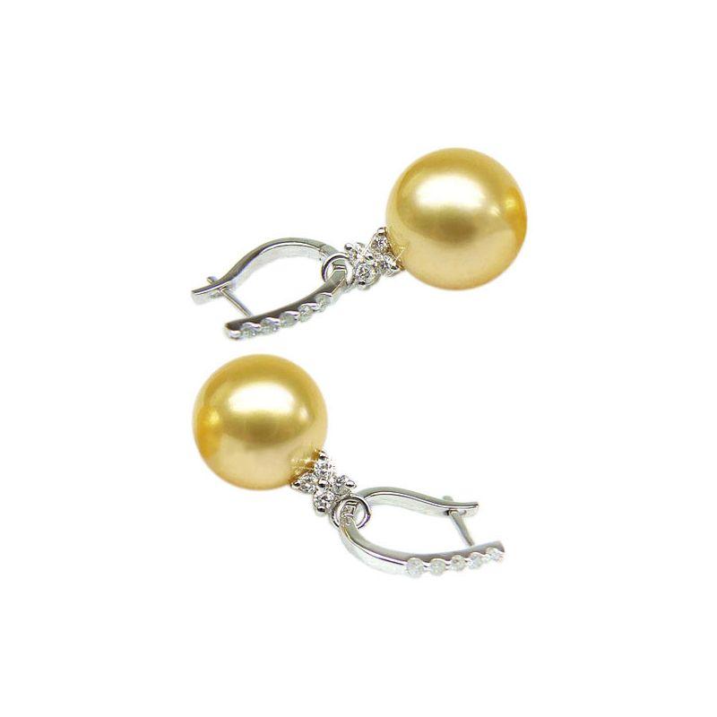 Orecchini Bayley - Oro Bianco e Perle dei Mari del Sud