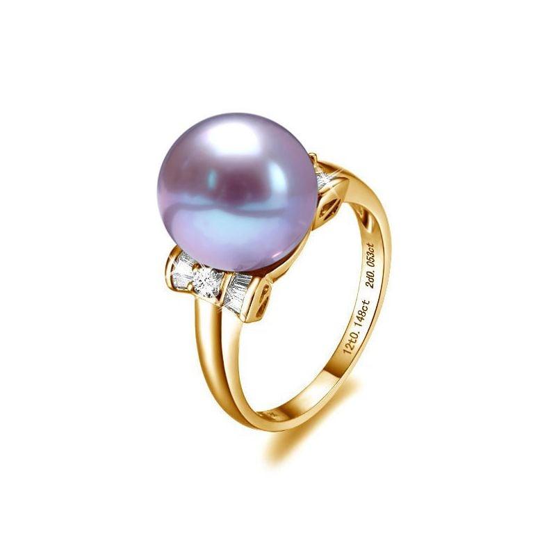 Bague or perle de culture - Perle lavande Chine - Or jaune, diamants