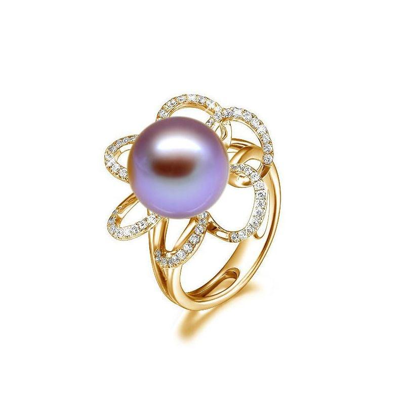 Anello Fleur Perlée - Oro Giallo, Perla d'Acqua Dolce Lavanda