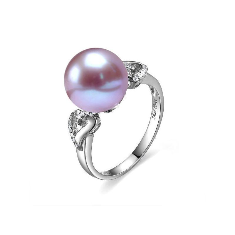 Anello Coeur de Perle - Oro Bianco, Perla d'Acqua Dolce Lavanda