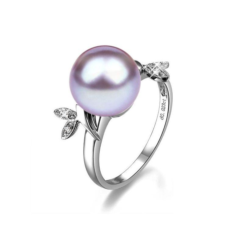 Bague Perle Lavande, Or blanc Diamant. Feuilles Étincelantes