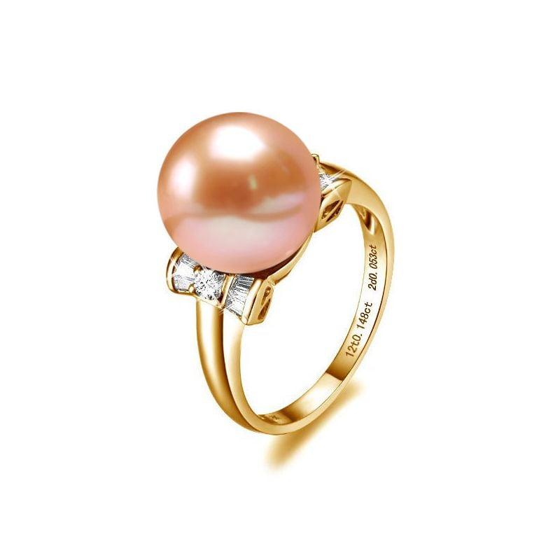 Bague noeud - Or jaune et diamants avec une perle de culture rose