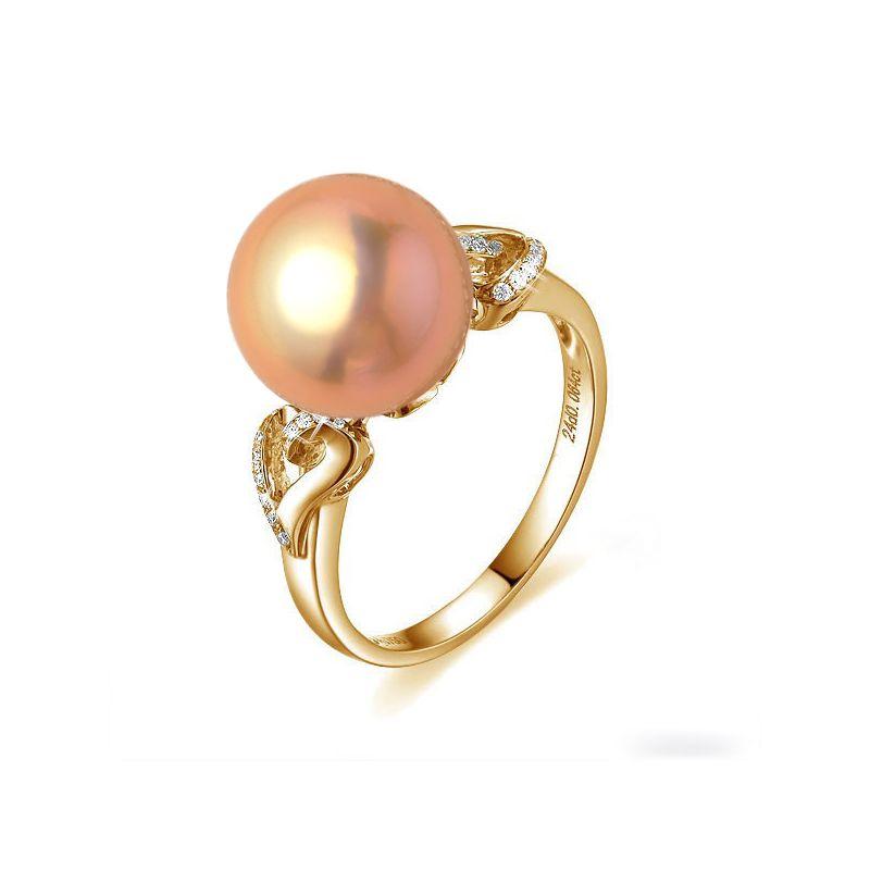 Bague coeur de perle diamanté - Or jaune et Perle d'eau douce rose