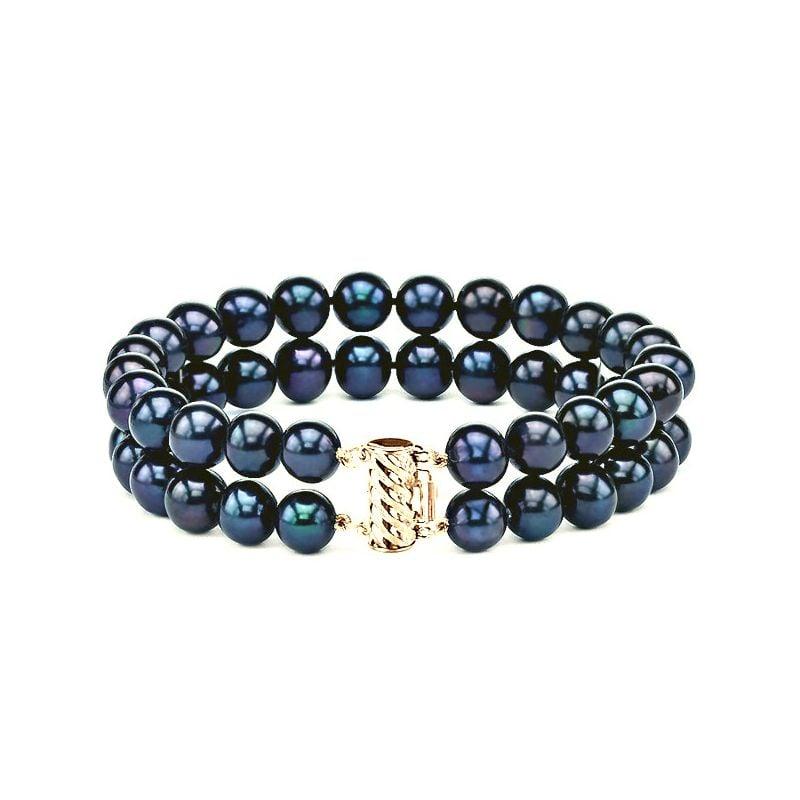 Bracelet Double Perles Eau Douce Noires - 7.5/8mm, AAA
