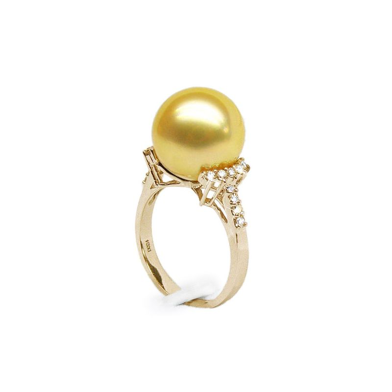 Bague Îles Montebello - Perle d'Australie dorée - Or jaune, diamants