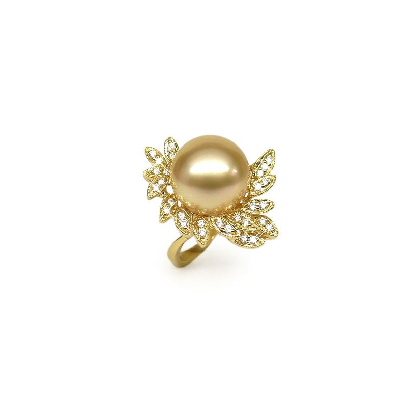 Anello Passion - Perla dei Mari del Sud Dorata e Oro Giallo