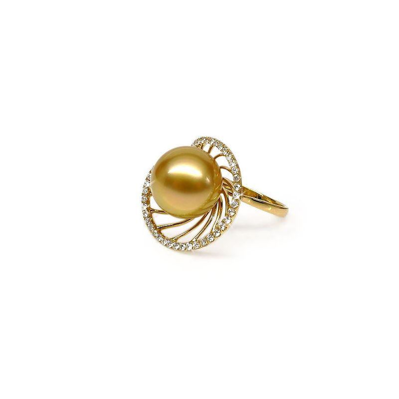 Anello Elliptique - Perla dei Mari del Sud Gold e Oro Giallo