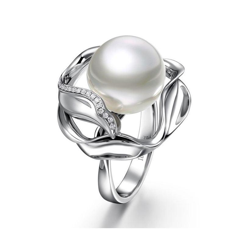 Anello Lotus - Perla dei Mari del Sud Bianca e Oro Bianco