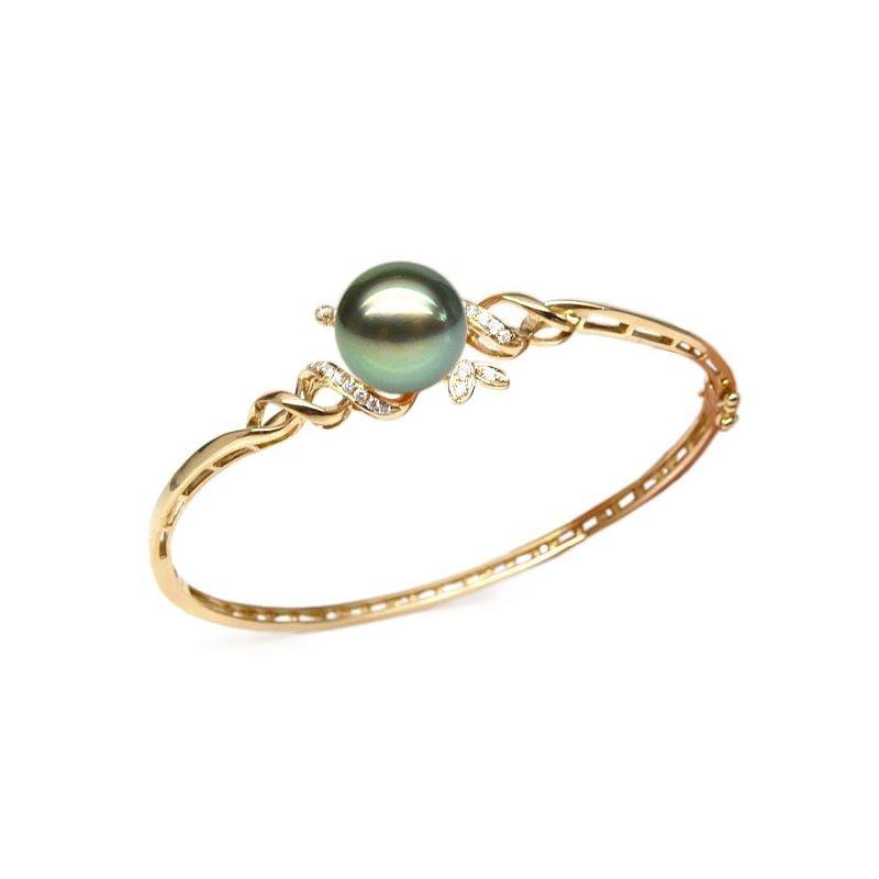 Bracciale rigido oro giallo - Perla di Tahiti nera, verde, pavone - 10/11mm