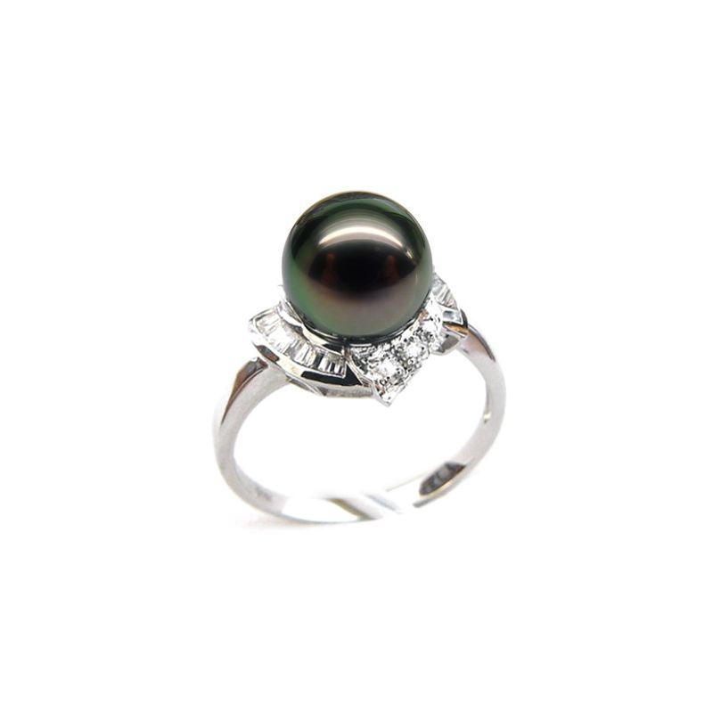 Bague Uracane - Perle de Tahiti - Or blanc, diamants princesses
