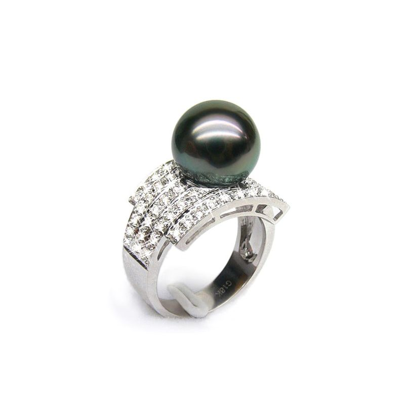 Bague style opulent - Perle Tahiti noire, bronze - Or blanc, diamants