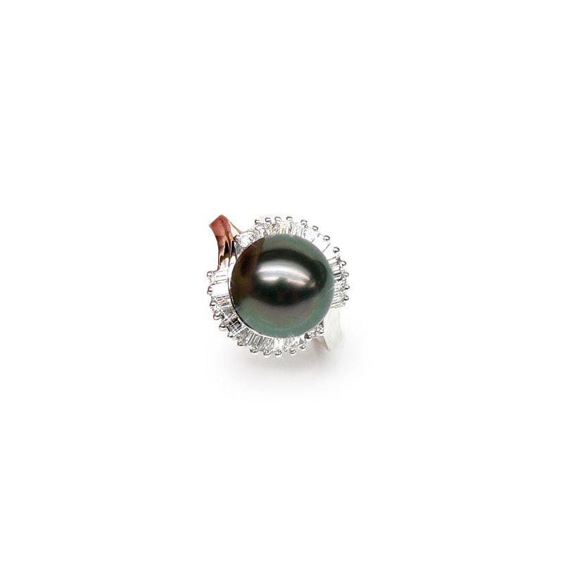 Anello Couronne - Oro Bianco, Diamanti e Perla di Tahiti