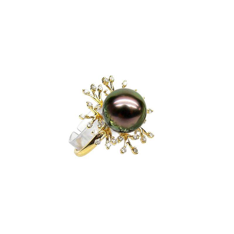 Anello Coraliens - Oro Giallo, Diamanti e Perla di Tahiti