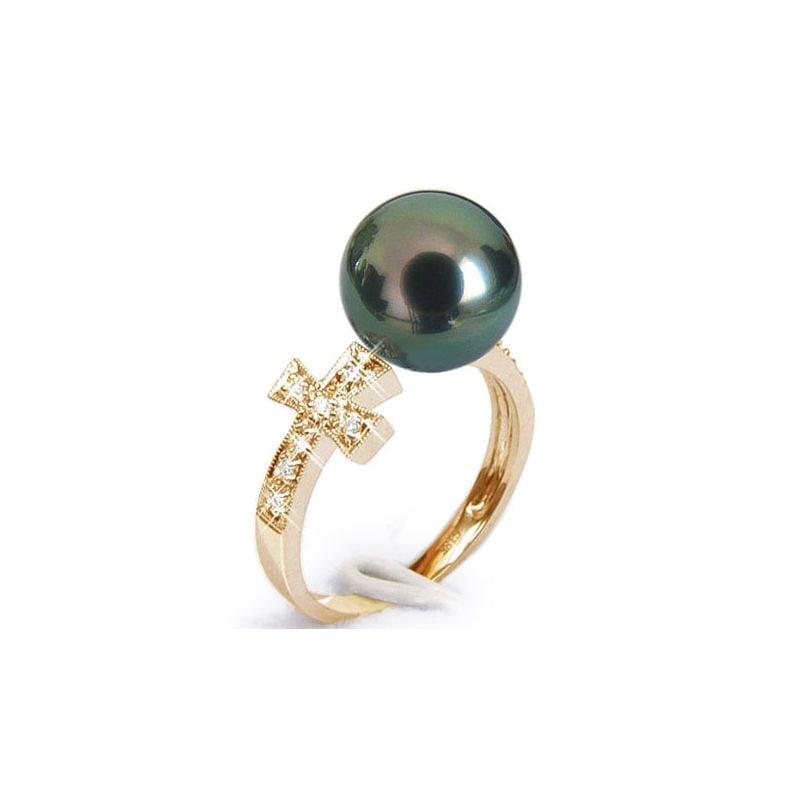 Anello Croce - Oro Giallo, Diamanti e  Perla di Tahiti Nera