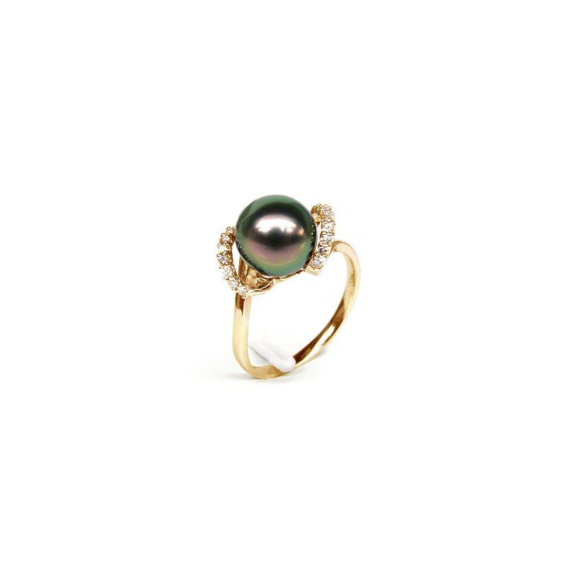 Anello Marion - Oro Giallo, Diamanti e Perla di Tahiti