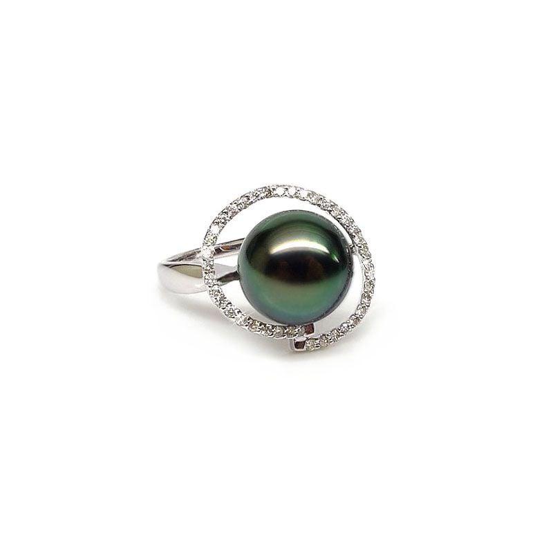 Anello Spitsbergen - Oro Bianco, Diamanti e Perla di Tahiti