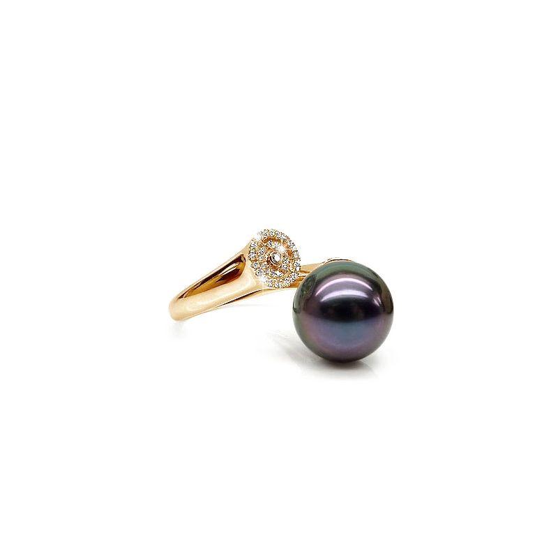 Anello Açores - Oro Giallo, Diamanti e Perla di Tahiti