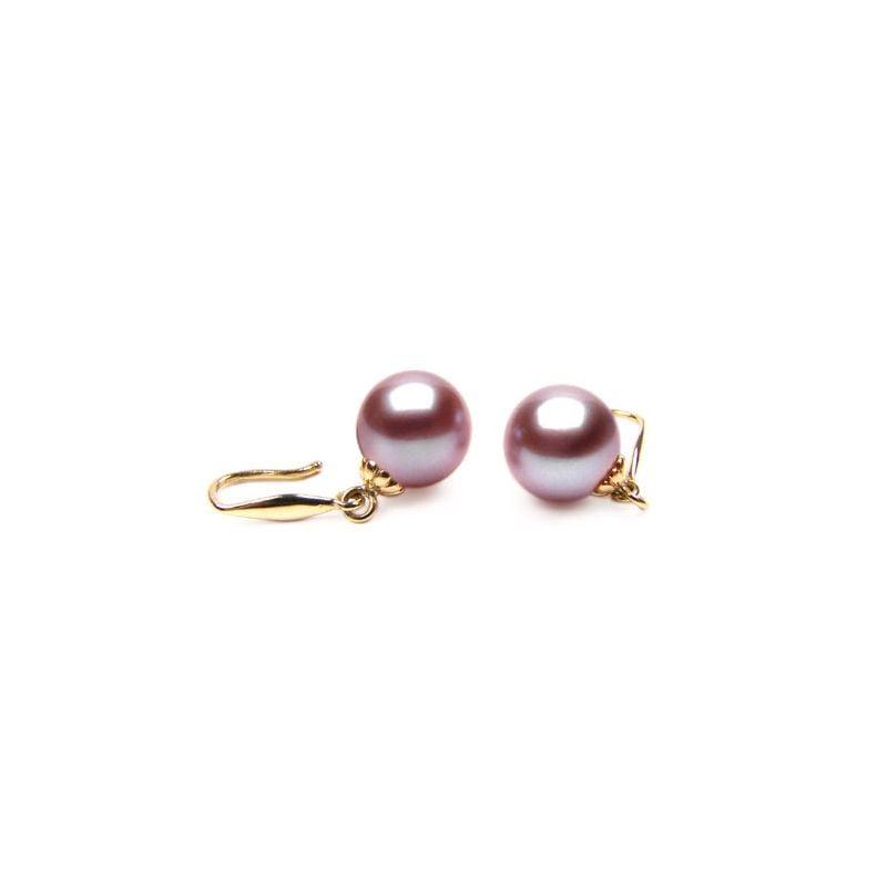 Boucles oreilles perles de culture - Crochets or jaune et perles 8/9mm