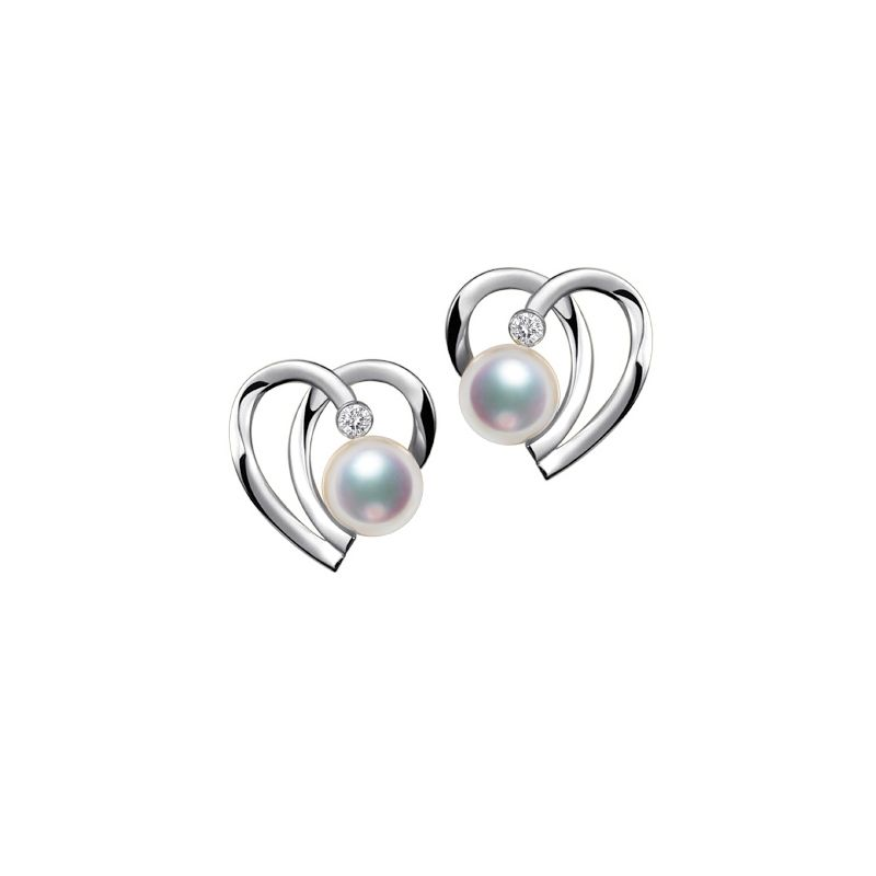 Boucles Coeur contemporain Or blanc. Perles Akoya, Diamants.