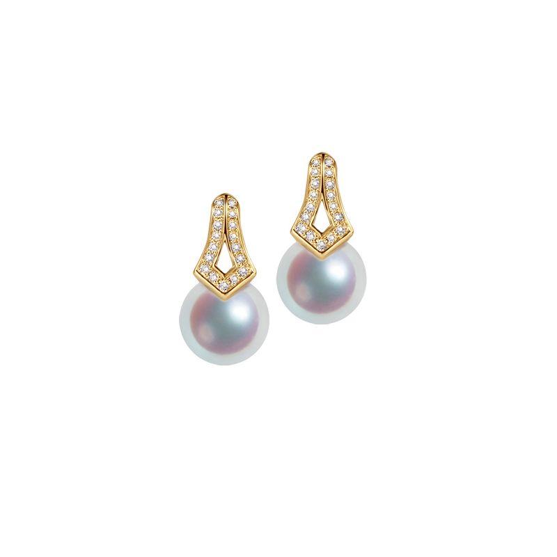 Boucles oreilles perles Japon. Pendants Michiko Or jaune, diamants.