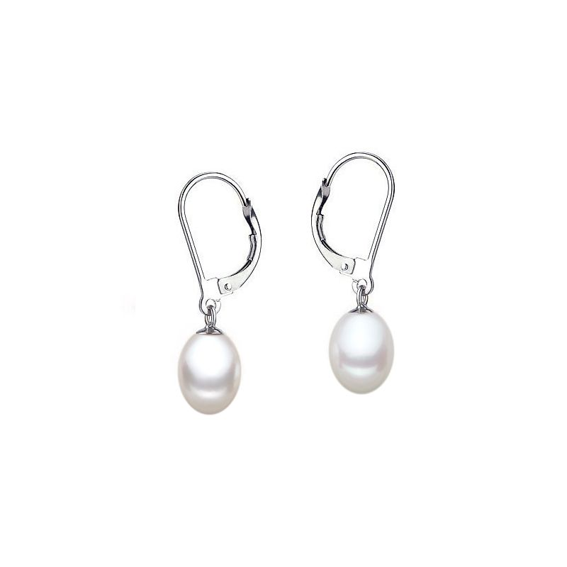 Boucles oreilles or blanc - Dormeuses perles blanches Chine - 8/9mm