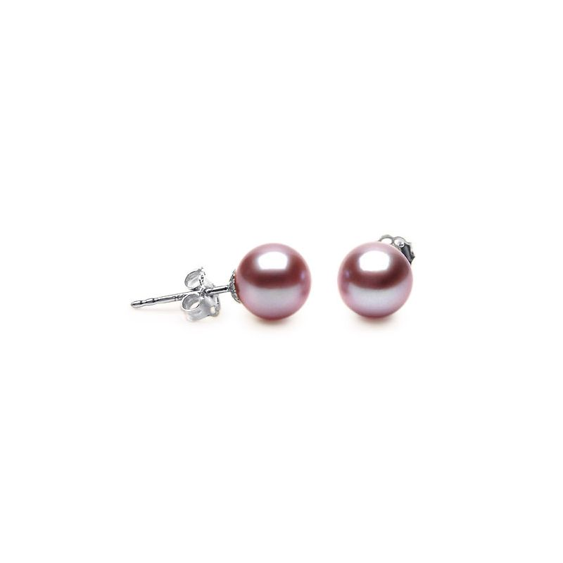 Boucle oreille or perle lavande - Or blanc 18cts - Perles Chine 8/9mm