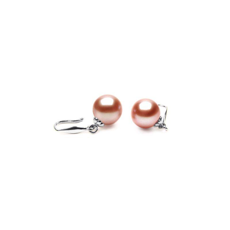 Crochets boucles d'oreilles or blanc - Perles de Chine 8/9mm, AAA