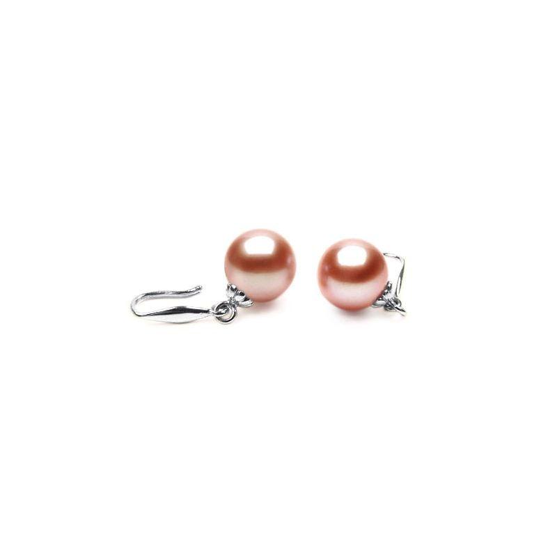 Crochets or blanc 18cts - Boucles d'oreilles perles roses de culture