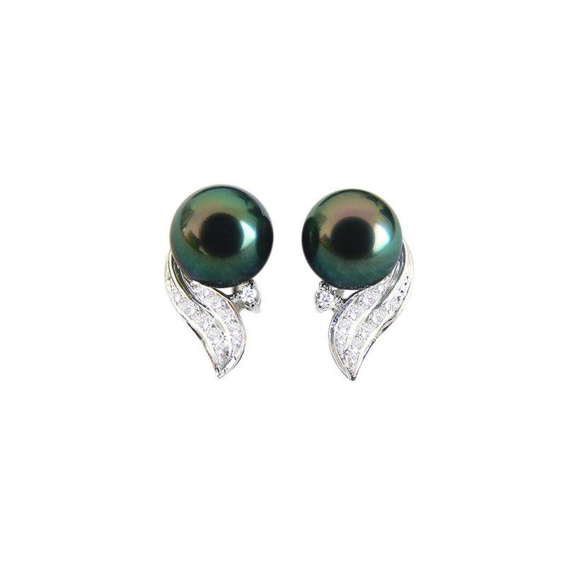 Orecchini a Lobo Tahitienne - Perle di Tahiti Nere, Oro Bianco