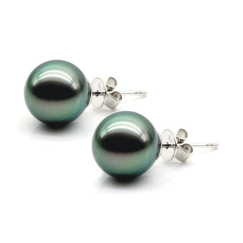 Boucles oreilles clous, or blanc - Perles de Tahiti noires, vertes - 9/10mm, GEMME