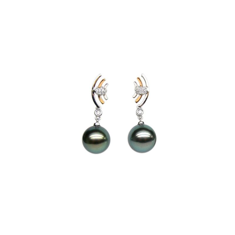 Boucles d'oreilles Marine - Perles de Tahiti noires - Or blanc, jaune