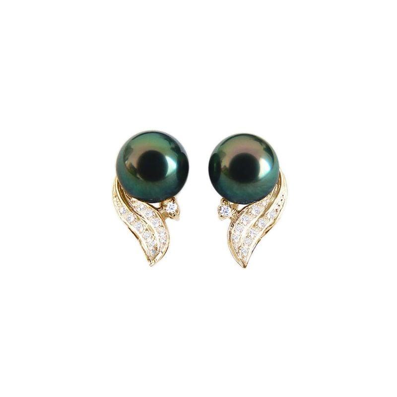 Orecchini a Lobo Tahitienne - Perle di Tahiti Nere, Oro Giallo