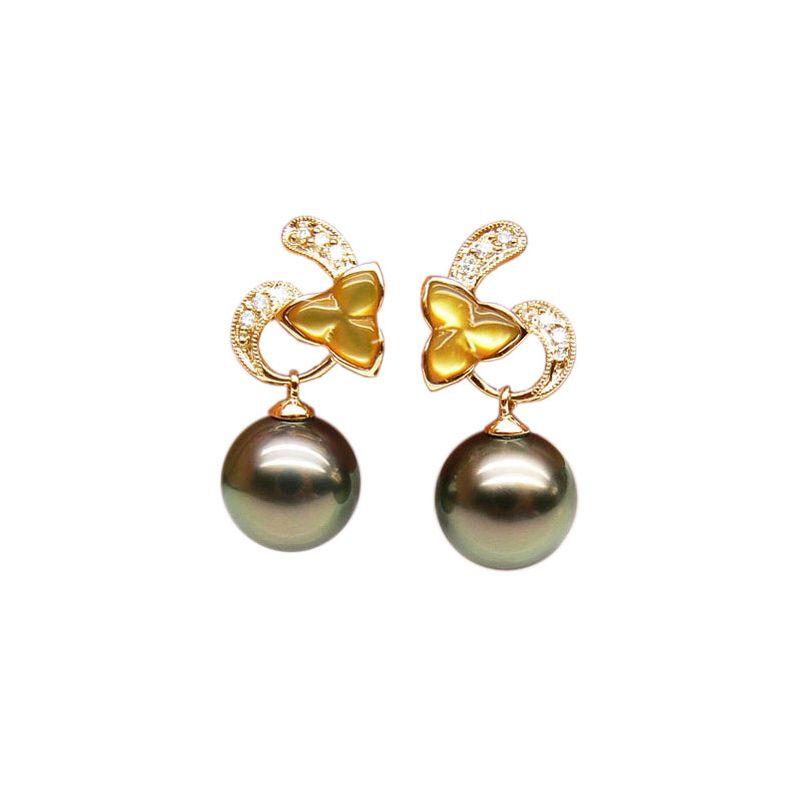 Orecchini Pendenti Socotra - Perle di Tahiti, Oro Giallo