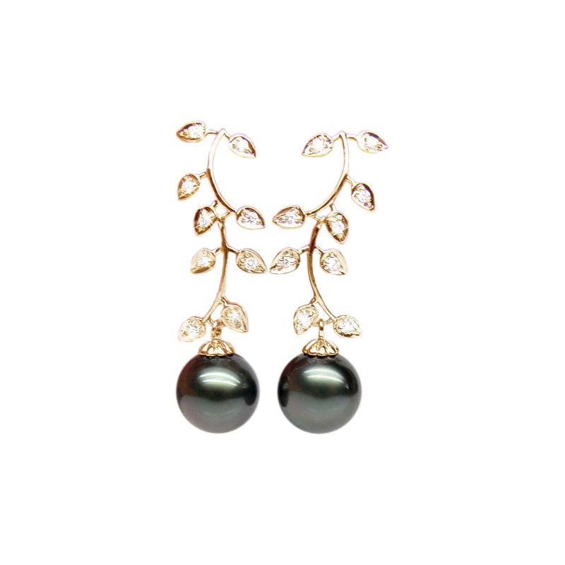 Boucles d'oreilles Nature - Perles de Tahiti noires - Or jaune, diamants