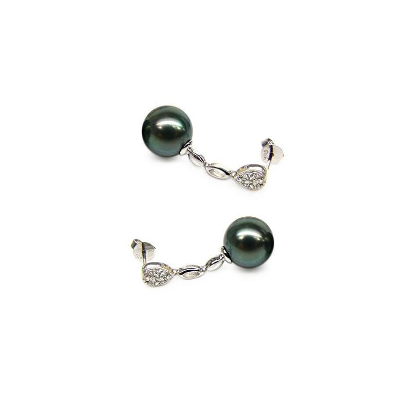 Boucles d'oreilles gouttes - Pendantes perles de Tahiti - Or blanc
