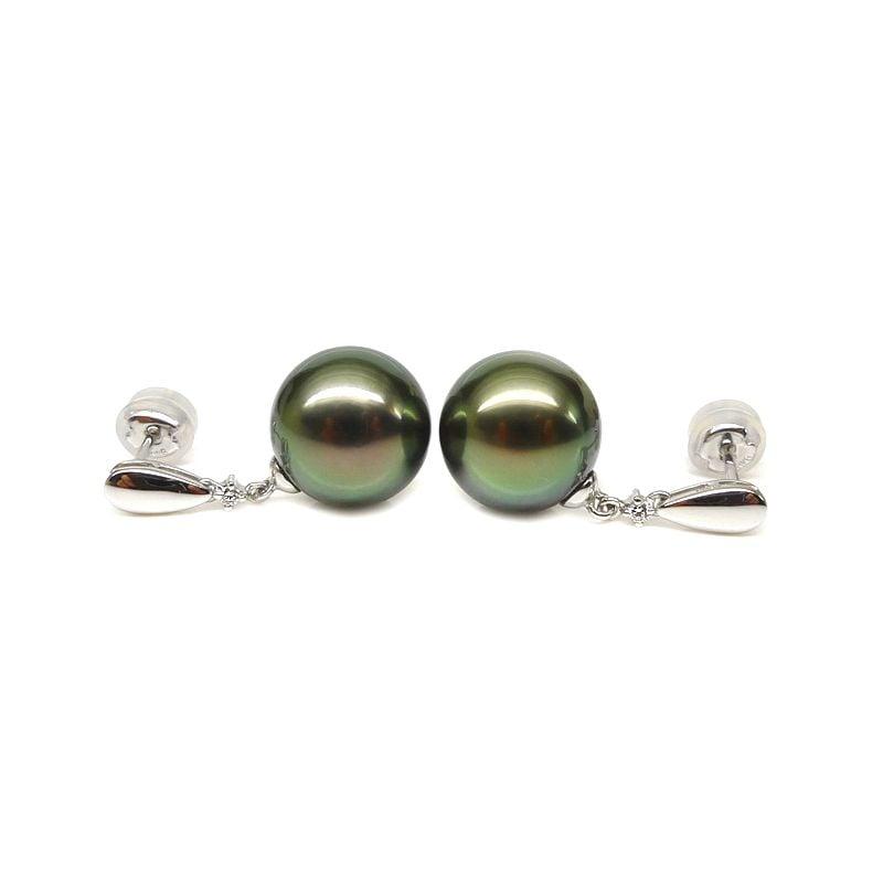 Boucles d'oreilles classiques - Joaillerie perles de Tahiti - Or blanc