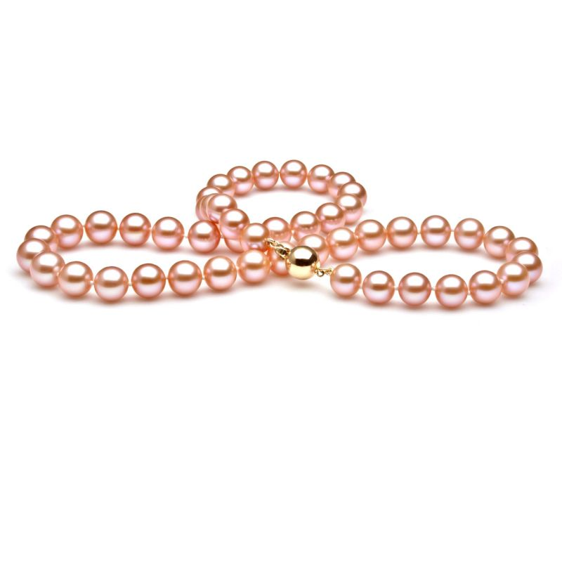 Perle de culture rose - Collier perles eau douce roses - 7.5/8mm