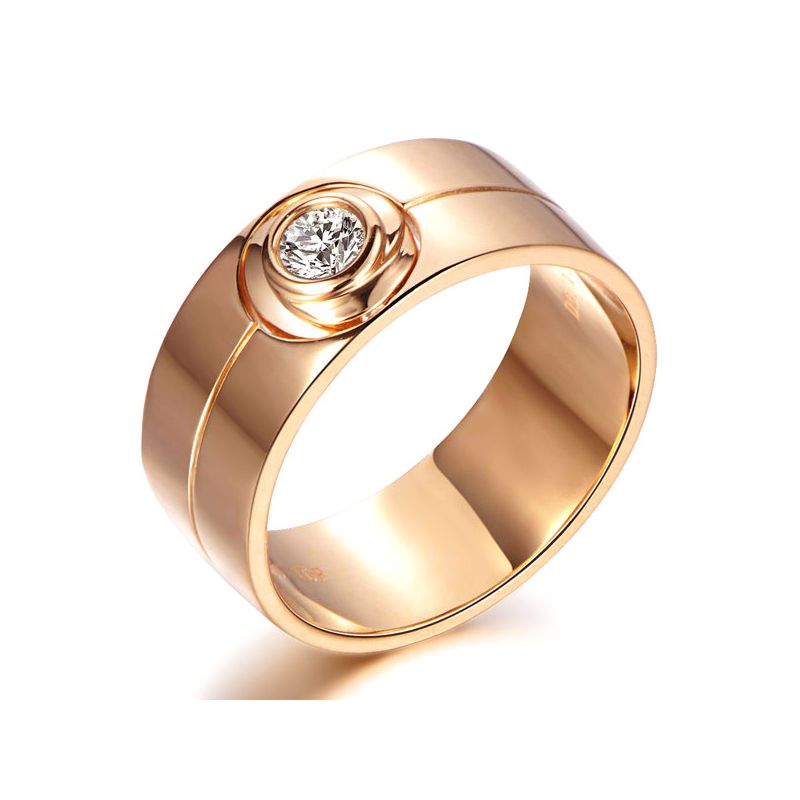 Bague homme type chevalière - 8mm or rose 750/1000 - Diamant 0.20ct