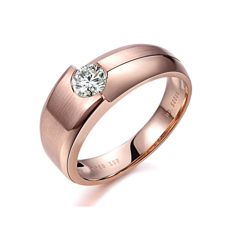 Bague homme duo d'or rose serti d'un diamant de 0.50ct | Gemperles