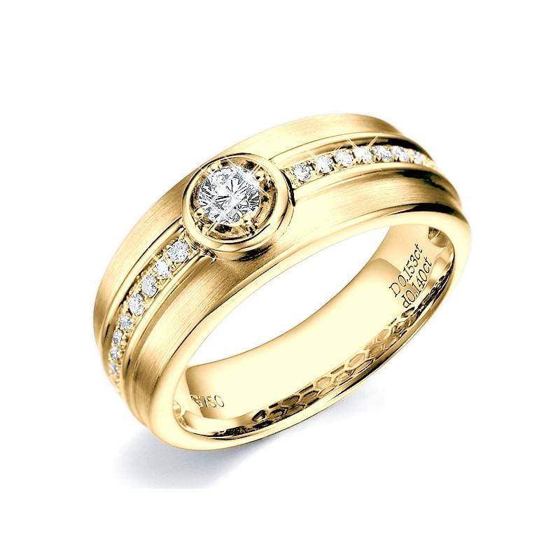 Bague Homme Chevalière or jaune 750/1000, Diamant Serti