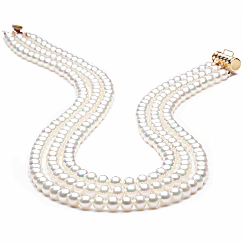 Collier perles 3 rangs - Collier perle mariage - Perle Blanche 5/5.5mm