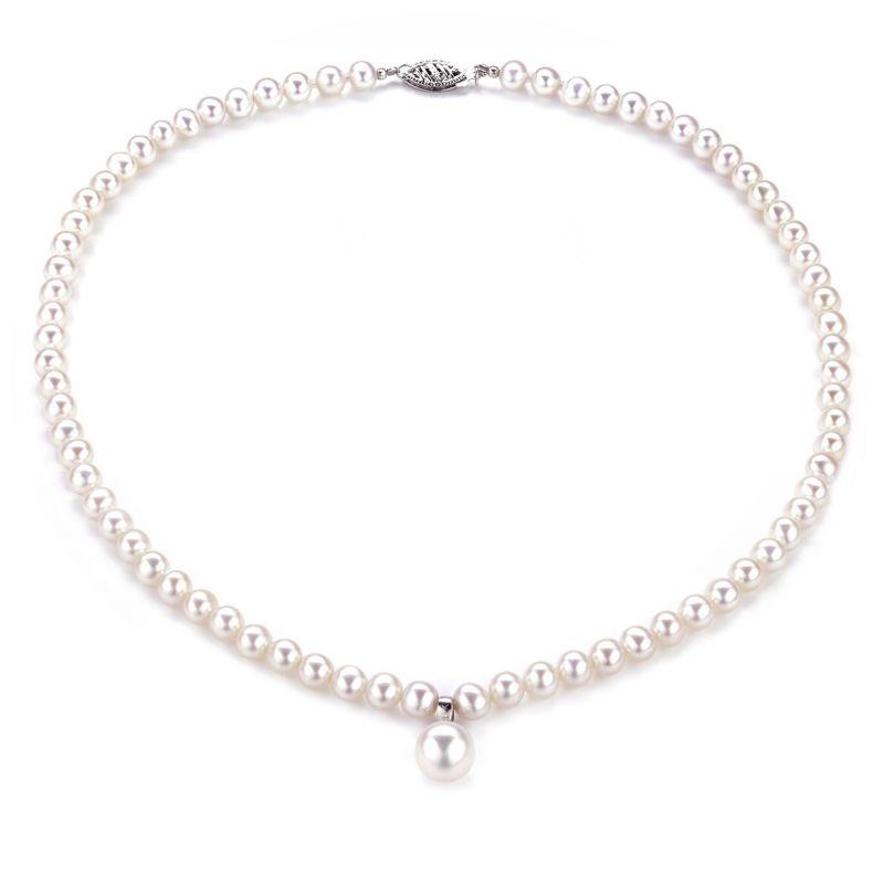 Collier Pendentif Opéra I Perles blanches Mariage