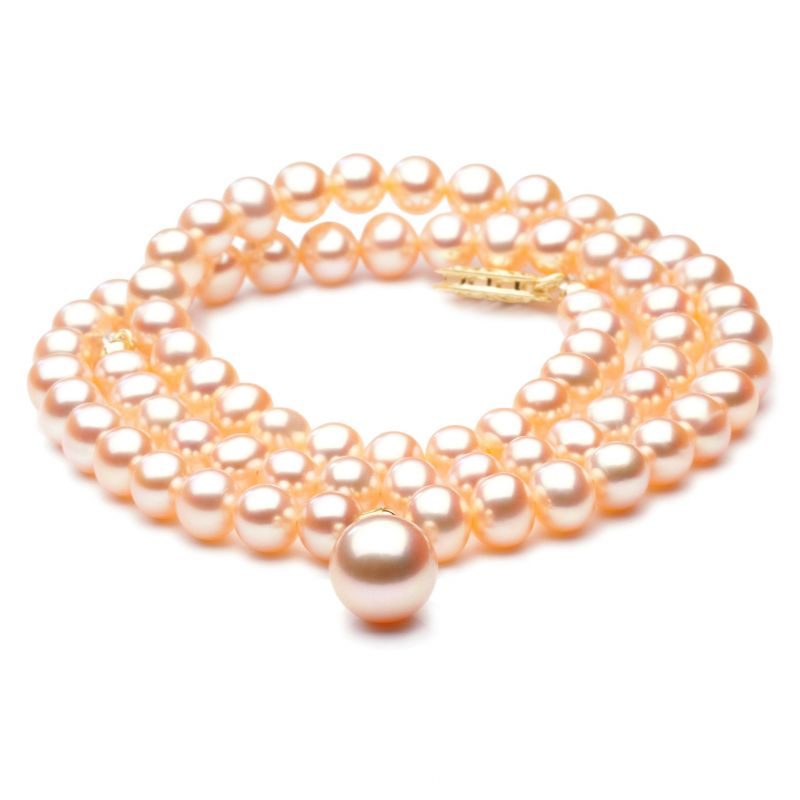 Collier de perles Chine avec pendentif - Perle de culture rose 5/9mm